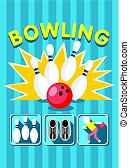 Colorful Sport Bowling Clup Poster
