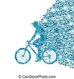 Colorful sport road bike rider bicycle silhouette background illustration vector concept made of triangular fragments explosion