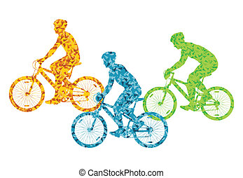 Colorful sport road bike rider bicycle silhouette background illustration vector concept