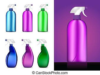 Colorful Spray bottles vector