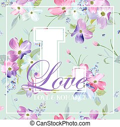 Colorful Spring and Summer Flowers Graphic Design for T-shirt, Fashion, Floral Prints, Fabric. Watercolor Botanical Romantic Background. Vector illustration