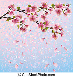 Colorful spring background with sakura blossom - Japanese...