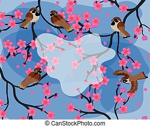 Colorful spring background with sparrows sitting on sakura branches vector
