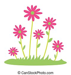 Colorful spring daisy flowers Vector illustration. grass and wild flowers isolated background. Spring grass border with early spring flowers and butterfly isolated on white background. Garden bed. Springtime design element