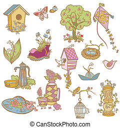 Colorful Spring Design Elements - for scrapbook in vector