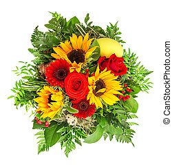 colorful spring flowers. sunflower, roses, gerber