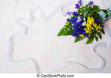 Colorful spring flowers with copy space