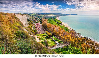 Colorful spring morning on the south coast of  Sicily