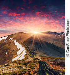 Colorful spring sunrise in the mountains