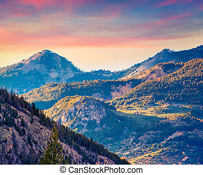 Colorful spring sunrise on the Col d'Isoard Pass,...