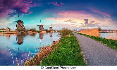 Dutch windmills on canak at Kinderdijk