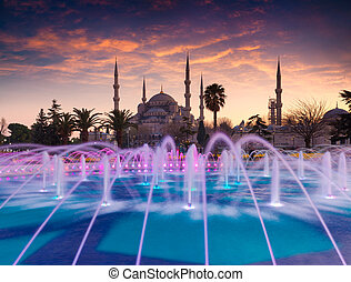 Colorful spring sunset in Sultan Ahmet park in Istanbul