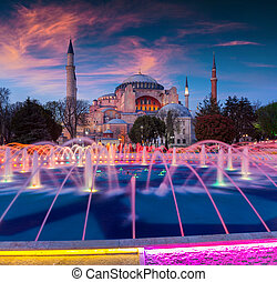 Colorful spring sunset in Sultan Ahmet park in Istanbul, Turkey, Europe