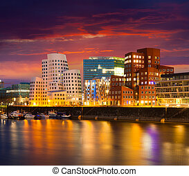 Colorful spring sunset of Rhein river at night in...