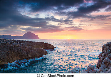 Colorful spring sunset on the nature reserve Monte Cofano