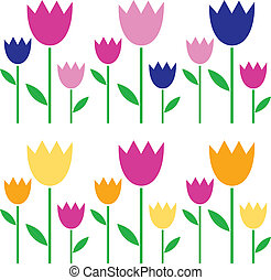 Colorful spring Tulips set isolated on white
