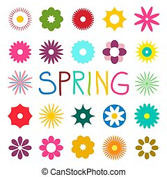 Colorful Spring Vector Flat Flowers Isolated on White Background