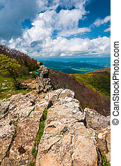Colorful spring view from Hawksbill Summit, Shenandoah National Park, Virginia.
