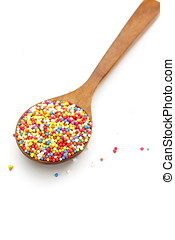 Colorful sprinkles, topping icecream and cake