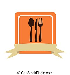 colorful square frame with ribbon and kitchen cutlery icon