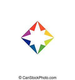 colorful square star abstract business logo