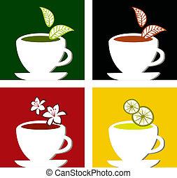 Four different tea labels on framed composition suitable for teatime menu design.