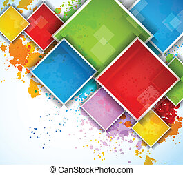 Colorful squares on bright grunge background