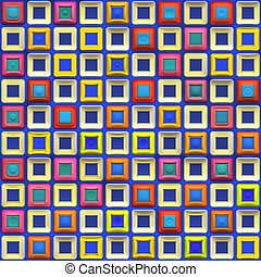 Colorful Squares Pattern - A rainbow colored checkered...