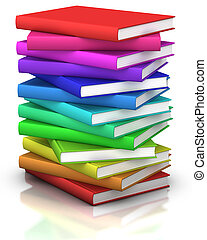 colorful stack of books - 3d illustration/rendering