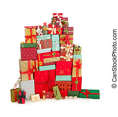 Colorful stack of christmas presents