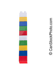 Colorful stack of plastic bricks. Isolated on white.