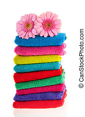 Colorful stacked towels - High pile with colorful stacked...