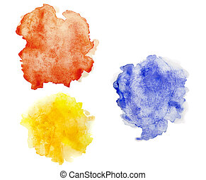 Colorful stains of watercolor, isolated on background - yellow, red and blue