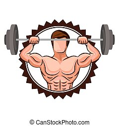 colorful stamp border with muscle man lifting a disc weights