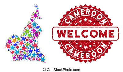Colorful Star African Cameroon Map Collage and Distress Welcome Stamp Seal