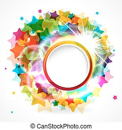 Colorful star background with rounded frame.