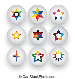 colorful star, christmas & navidad, rating, 3d badge vector icons. This graphic also represents buttons with different types of stars, flowers, geometric patterns & shapes