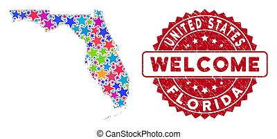 Colorful Star Florida Map Composition and Grunge Welcome Seal