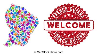 Colorful Star French Guiana Map Mosaic and Distress Welcome Stamp Seal