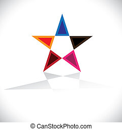 Colorful star icon or sign with reflection- vector graphic