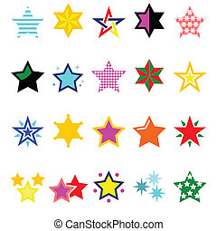 Winter Christmas icons set- stars and sparkles