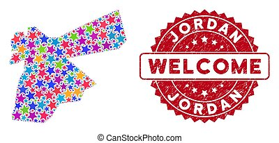 Colorful Star Jordan Map Composition and Distress Welcome Stamp Seal