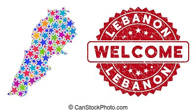 Colorful Star Lebanon Map Mosaic and Distress Welcome Stamp Seal