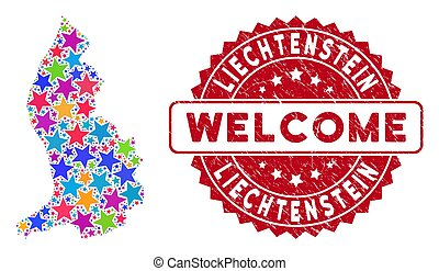 Colorful Star Liechtenstein Map Collage and Distress Welcome Stamp