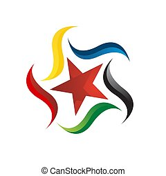 colorful star logo vector icon concept illustration with decorative and creative design element