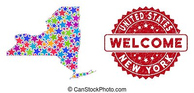 Colorful Star New York State Map Composition and Scratched Welcome Seal