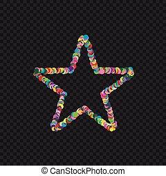 Colorful star shape. Colored confetti star, Vector...