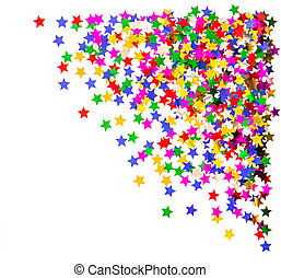 colorful star shaped confetti. red, blue, green, yellow. holiday