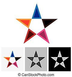 Colorful star vector logo icon or sign with reflection