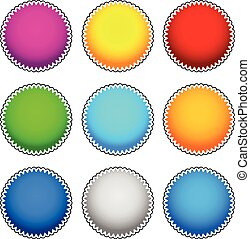 Colorful starburst, flash, badge set. vector graphics